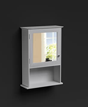 Bathroom Mirror Cabinet White 1 Door Storage Cupboard Over Sink Colonial Tong Groove