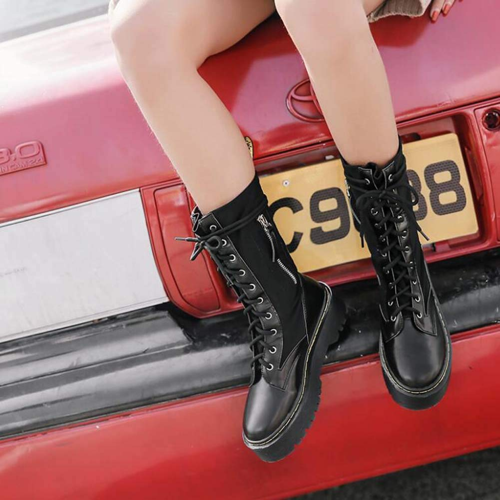 Frauen Frauen Frauen Martin Stiefel Lokomotive Stiefel Dicken Boden Kreuz Riemen Ritter Stiefel Kleider Schuhe Lässige Mid-Waden Stiefel EU-Größe 35-40 dde456