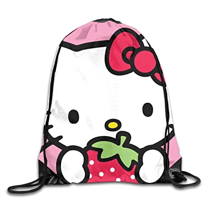 cdd40d126 Image Unavailable. Image not available for. Color: Meirdre Unisex Hello  Kitty with Strawberry Sports Drawstring Backpack Gym Bag