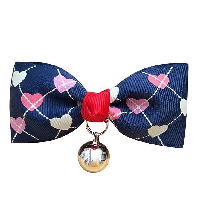 CAOQAO - Collar de Perro, diseño de corazón, con Lazo y Mariposa ...