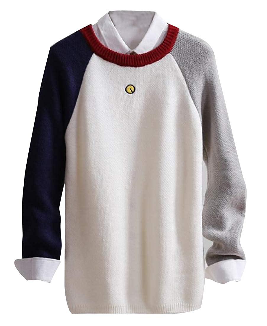 YUNY Mens Long Sleeve Mix Color Retro Style Chunky Jumper Tops 4 2XL