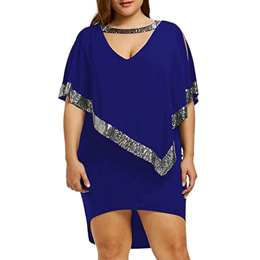 e1cf224adb4 Minisoya Women Sequin Dress Plus Size V-Neck Batwing Sparkly Casual Loose  Tunic T-