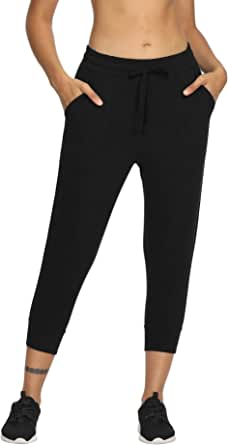 LastFor1 Women's Capri Yoga Sweatpants Active Jogger Running Pants Drawstring with Pockets