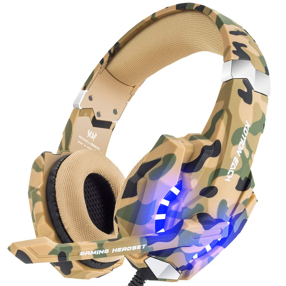 BENGOO Stereo Gaming Headset for PS4, PC, Xbox One Controller, Noise Cancelling Over Ear Headphones Mic, LED Light, Bass Surround, Soft Memory Earmuffs for Laptop Mac Nintendo Switch -Camouflage by BENGOO