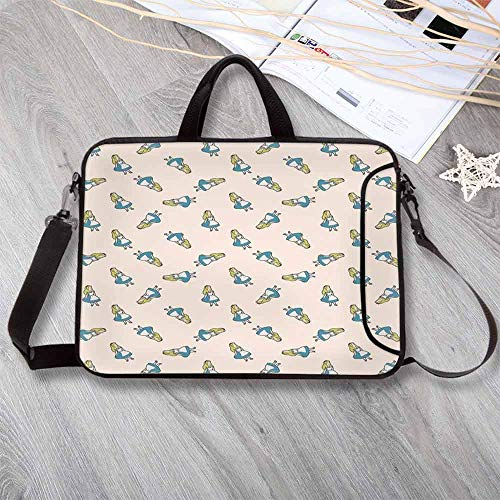 Alice in Wonderland Printing Neoprene Laptop Bag,New Adventures of Alice Humor Wonderland Cartoon Wall Decor Laptop Bag for 10 Inch to 17 Inch Laptop,17.3