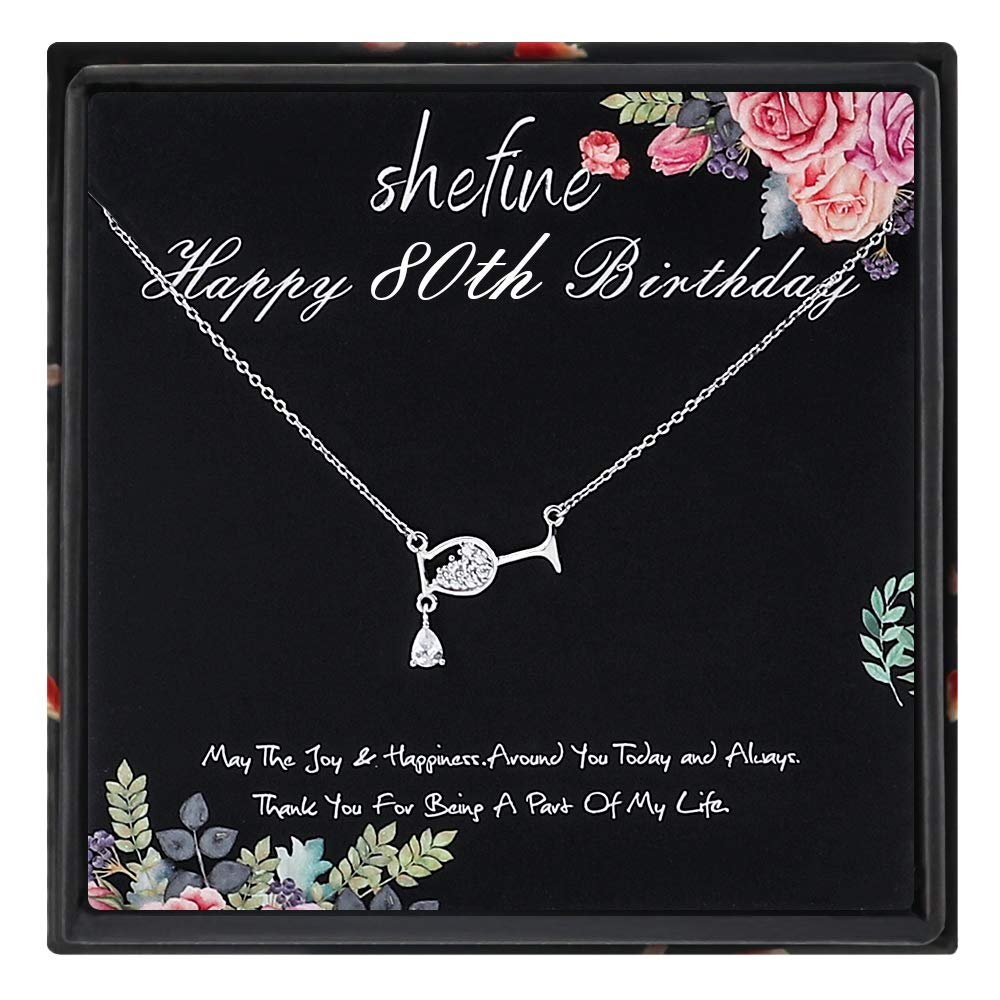 Funny 80th Birthday Gifts for Women 925 Sterling Silver Womens Red Wine Glasses Water Droplets Necklace 80 Year Old Birthday Gifts for Women 80th Birthday Gifts for Women