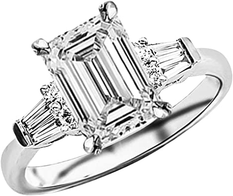 1 25 Ctw Emerald Cut Baguette Round 14k White Gold Diamond Engagement Ring I J Color Vs1 Vs2 Clarity 1 Ct Center Amazon Com