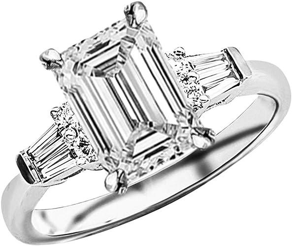 14K White Gold Wedding Ring 925 Sterling Silver Halo Ring Round Shape Certified 2.00 Ct Forever Moissanite Split Shank Engagement Ring