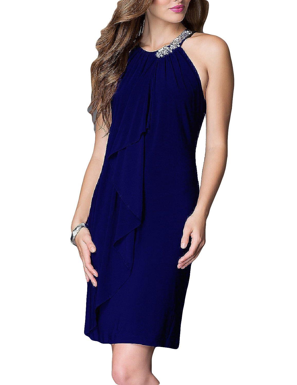 MAY BRIDAL Women's Sleeveless Halter Knee Length Sequins evening dress prom dress G-EN002