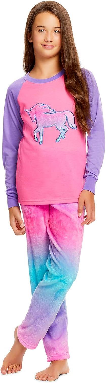 Girls 2 Piece Plush Embroidery Pajama Set - Long Sleeve Top & PJ Pants