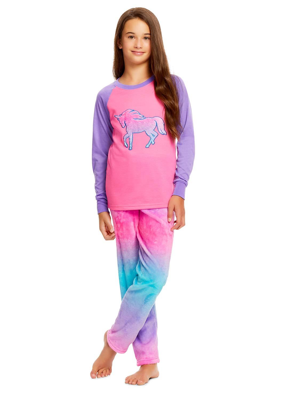 Girls 2 Piece Plush Pajama Set | Long Sleeve Fleece Top & PJ Pants