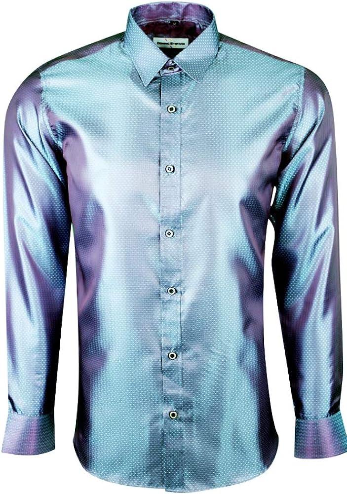 Dominic Stefano Mens Shiny Satin Floral Paisley Print Silk Feel Smart Casual Dress Formal Wedding Casual Shirt