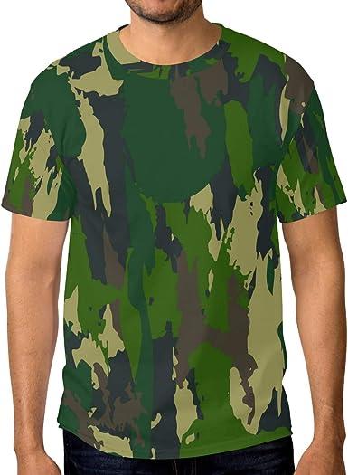 FAJRO Camisa de Manga Corta para Hombre, diseño de Camuflaje, Color Verde: Amazon.es: Ropa y accesorios