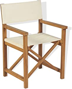 MWPO Outdoor Director Chair, Folding Director's Chair Solid Teak Wood, Garden Furniture Foldable Seat 58 x 53 x 85cm