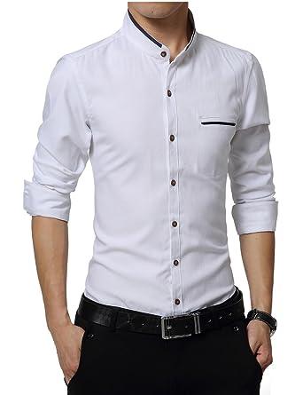 Yayu Mens Slim Fit USA Falg Print Long Sleeve Button Down Shirt