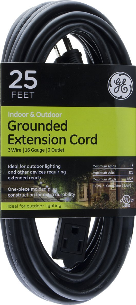 GE 25 ft Extension Cord, Outdoor, Ideal for Outdoor Lighting, Double Insulated Cord, Long Life, Heavy Duty, UL Listed, Black, 36825
