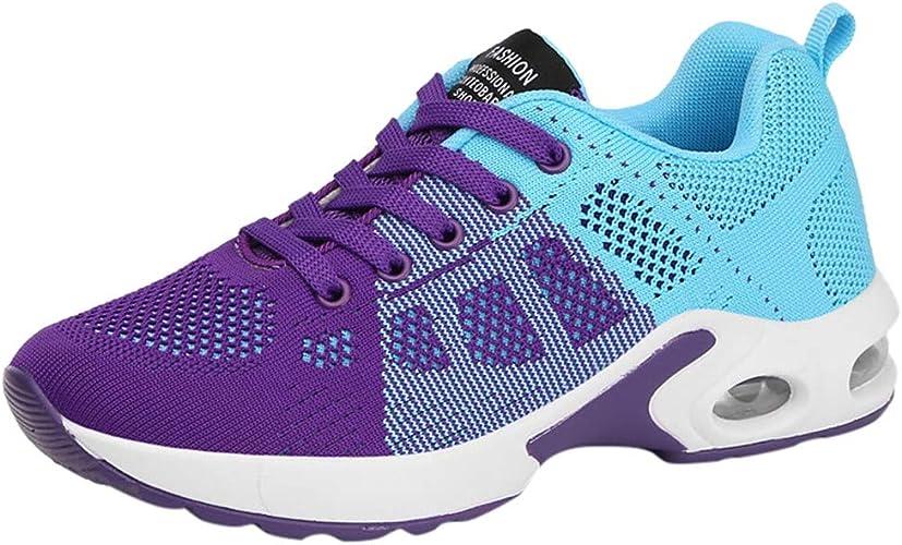 MrTom Zapatillas de Running para Mujer Tricolor Patchwork Zapatos de Deporte con Cordones Zapatillas Deportivo para Caminar Correr Gimnasia Calzado de Trabajo Sneakers Mesh Transpirable: Amazon.es: Zapatos y complementos