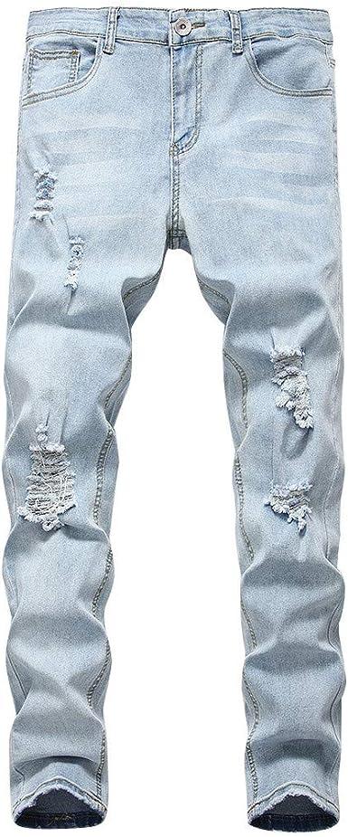 Pantalones Vaqueros Para Hombre Pantalones Casuales Moda Jeans Rotos Trend Largo Pantalones Jogging Pants Skinny Pantalon Fitness Jeans Largos Pantalones Ropa De Hombre Vpass Amazon Es Ropa Y Accesorios