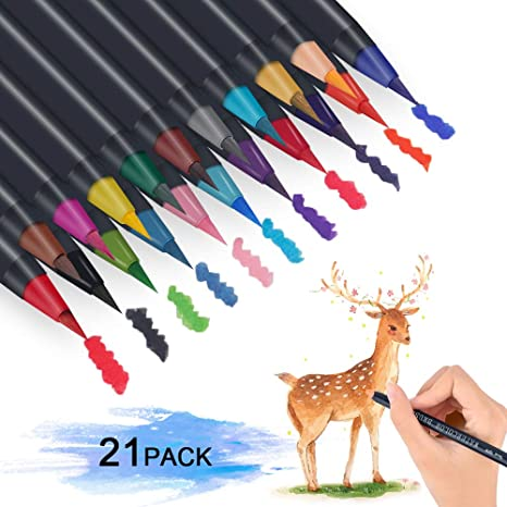 25 Pack Felt Tip Pens Drawing Markers Painting Colouring Art School Watercolour