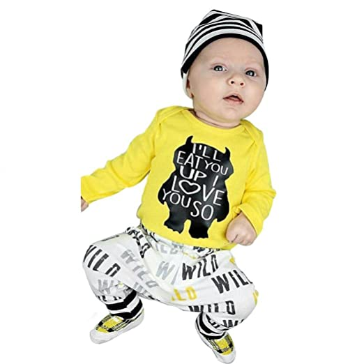 e380a0796 Fashion Newborn Outfits Clothes,Matoen Baby Girl Boy Letter Print Yellow  Tops+Pants (