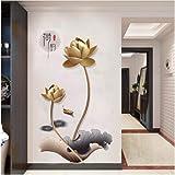 Liujingge 3Dゴールデン蓮の花の壁紙中国風レトロウォールステッカー用リビングルームの寝室の家の装飾ソファの背景ポスター60 * 90センチ