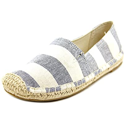 1.4.3. Girl Womens Island Closed Toe Espadrille Flats, Navy/Wht Stripe, Size 7.5