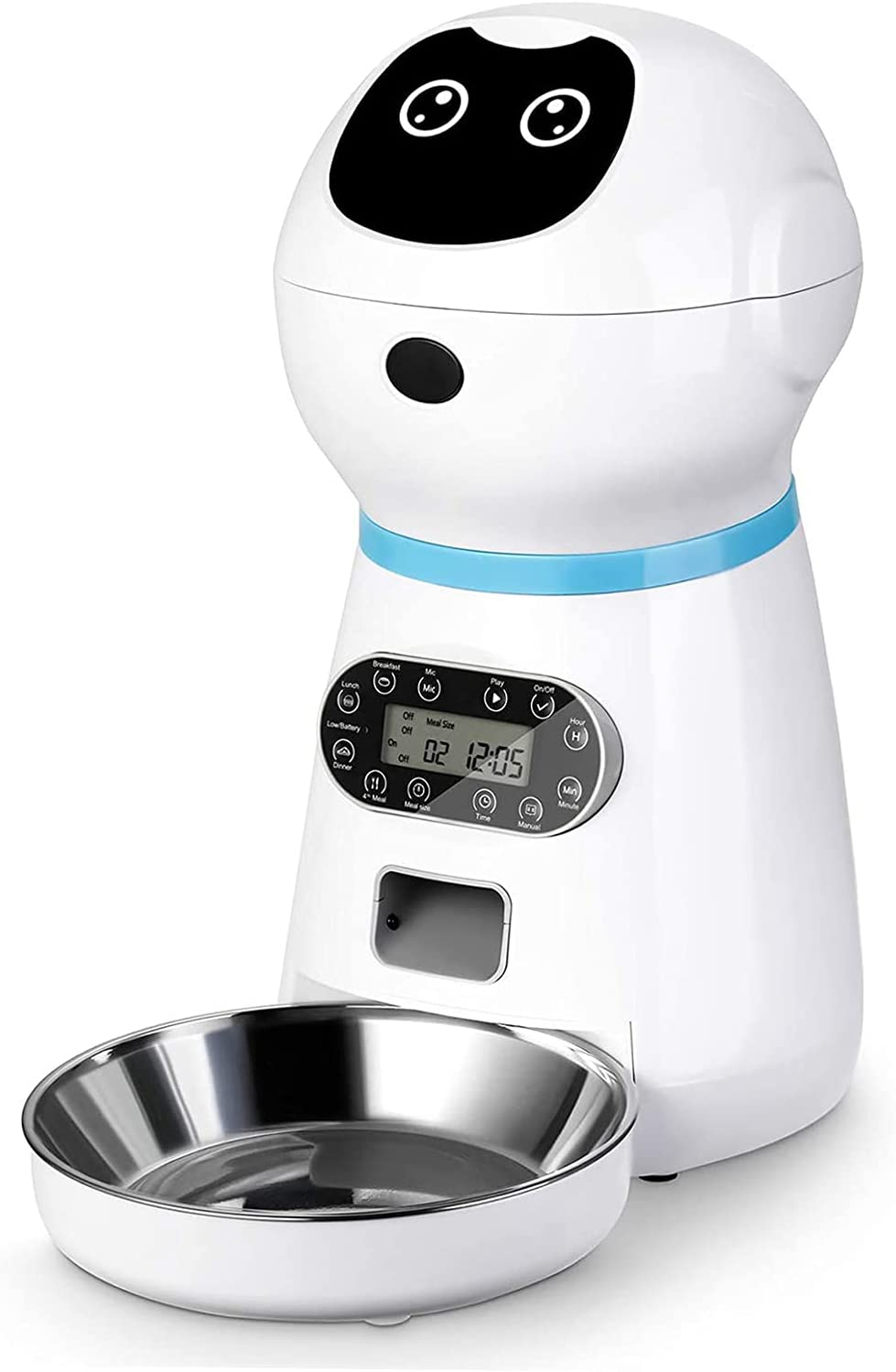 FIOVIEL Automatic Cat Feeder, Cat and Dog Food Timed Dispenser Intelligent Programming with 10s Voice Recorder for Small/Medium Pets Stainless Steel 3.5L
