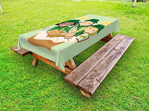 (Lunarable Girl Scouts Outdoor Tablecloth, Illustration of Girls with Uniforms Selling Various Cookies Fundraiser Event, Decorative Washable Picnic Table Cloth, 58 X 84 inches, Multicolor)