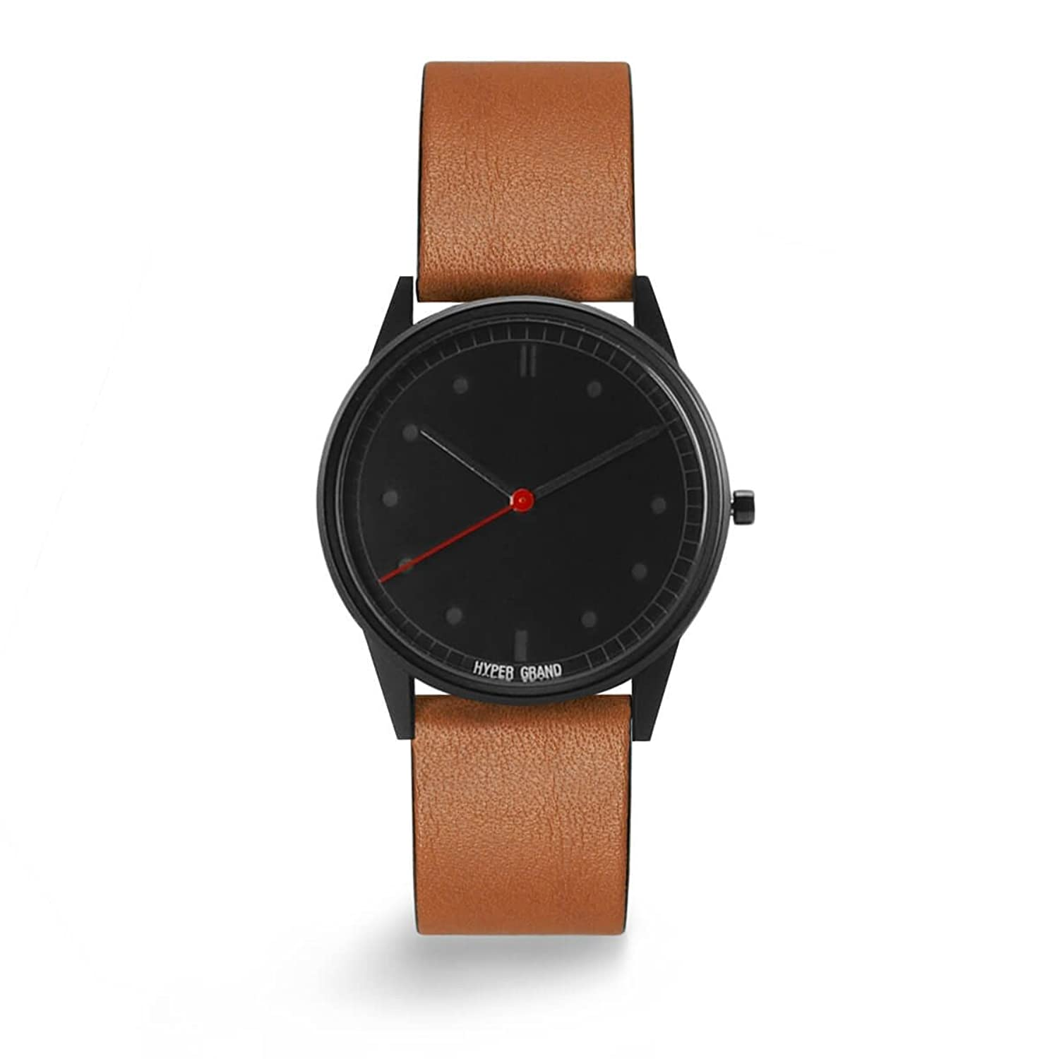 HYPERGRAND 01NATO Watch Blackout Classic Honey Leather schwarze Uhr mit Cognac Lederarmband