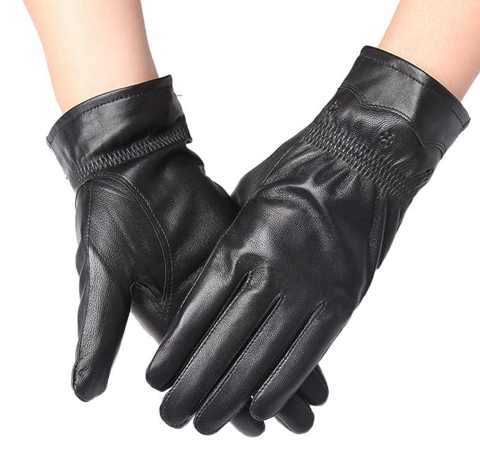 Herren Touschscreen Handschuhe Echtleder Thermofutter Schwarz Fahren