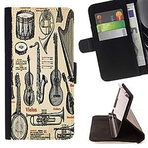 King Case - FOR HTC One M8 - appeal of Musical Instruments - Prima caja de la PU billetera de cuero con ranuras para tarjetas, efectivo Compartimiento desmontable y correa para la mu?eca