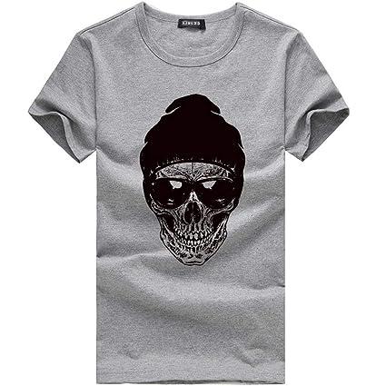 Qiusa Camisas para hombres, Personalidad Impresión de calavera en 3D Camiseta sólida Camisas con cuello