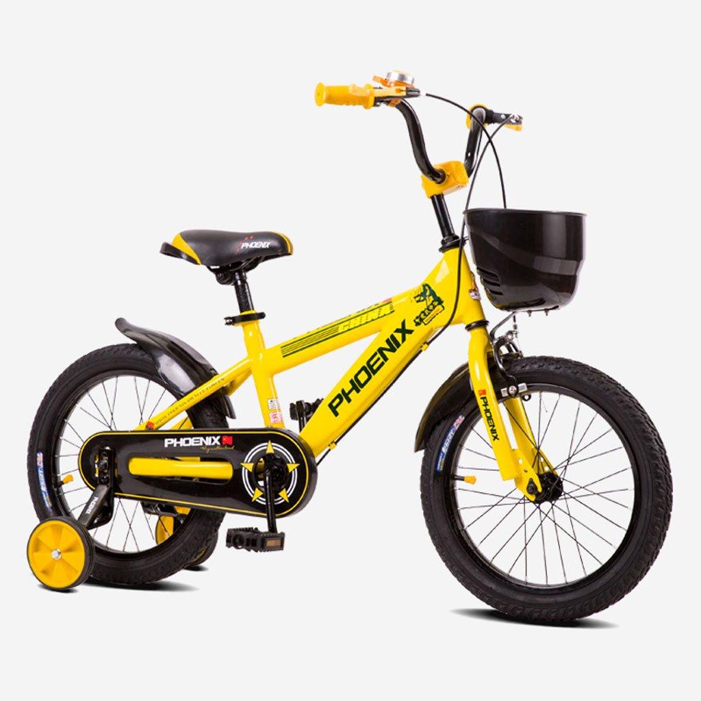 子供用自転車ハイカーボンスチールキッズバイク14インチ自転車3-6ベビー用ベビーキャリア、イエロー/ブルー/レッド (Color : Yellow) B07CV9XFYC