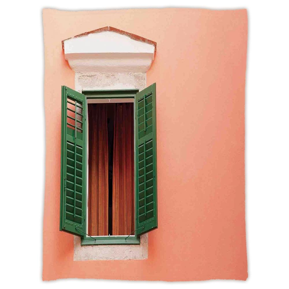 Super Soft Throw Blanket Custom Design Cozy Fleece Blanket,Shutters Decor,Mediterranean Style Image of Window and Shutters Old House Rurals Home Deco,Orange Green White,Perfect for Couch Sofa or Bed