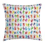 Colorful Decor Throw Pillow Cushion Cover, Human Handprint Kids Watercolor Paint Effect Open Palms Collage Art Work Print, Decorative Square Accent Pillow Case, 18 X 18 Inches, Multi