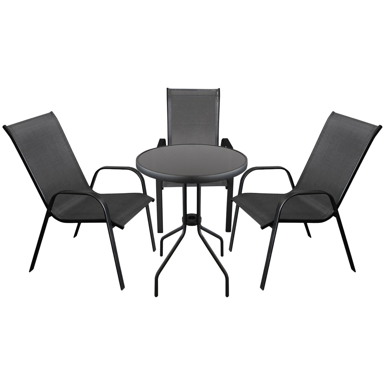 4tlg. Sitzgruppe Gartengarnitur Bistrogarnitur Balkonmöbel ...