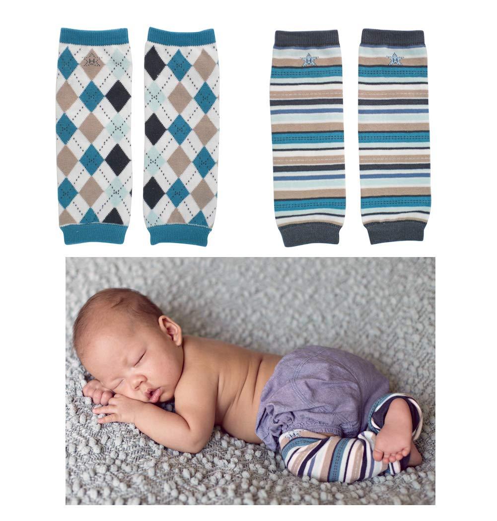 Huggalugs 2 Pack Baby Boy Leg Warmers Dapper Argyle and Blue Locomotive Stripes by Huggalugs