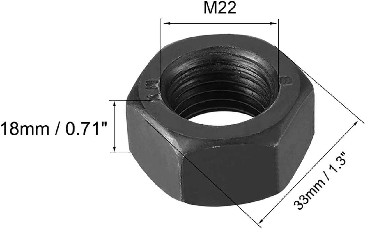 uxcell Hex Nuts Black M22x2.5mm Metric Coarse Thread Hexagon Nut Pack of 4 Carbon Steel
