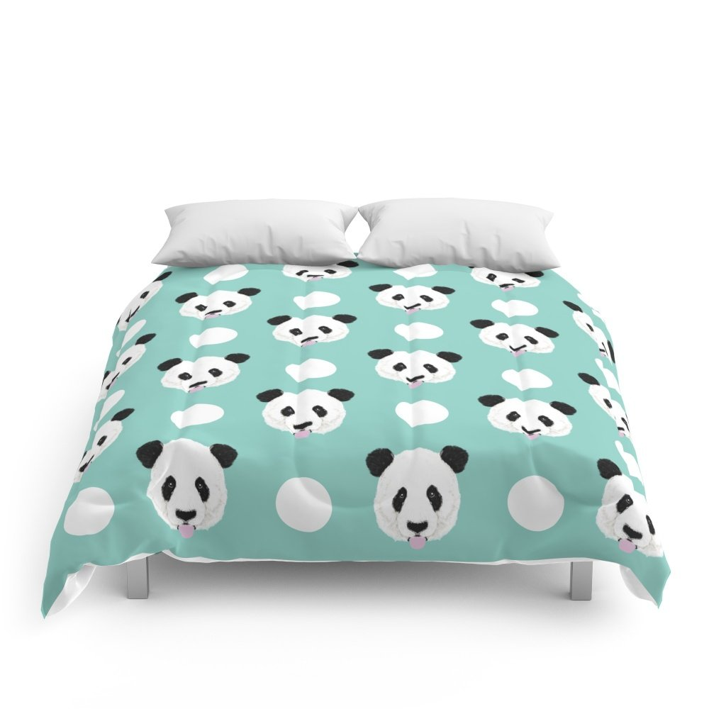 Society6 Panda Polka Dots Pattern Print Minimal Trendy Kids Design Pillow Cell Phone Cute Panda Cub Character Comforters Queen: 88'' x 88''