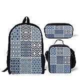 iPrint School Lunch Pen,Arabian,Arabesque Islamic Motifs Geometric Lines Asian Ethnic Muslim Ottoman Element,Blue White,Bags
