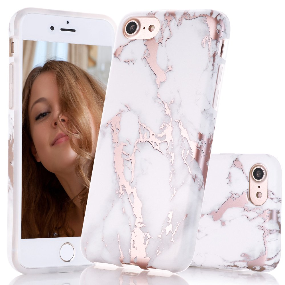 BAISRKE iPhone 7 Case, iPhone 8 Case Shiny Rose Gold White Marble Design Clear Bumper Matte TPU Soft Rubber Silicone Cover Phone Case for iPhone 7 (2016)/iPhone 8 (2107)