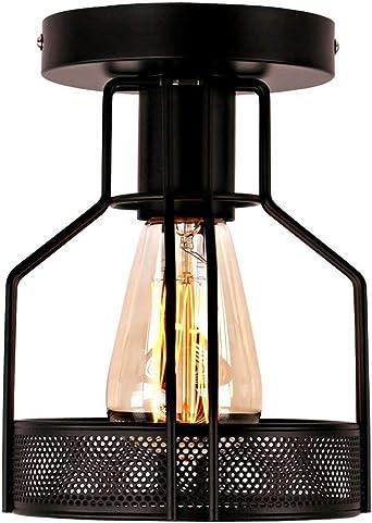 Luz de techo de la vendimia, Plafones industriales, Pantalla de jaula de metal geométrica, Loft araña