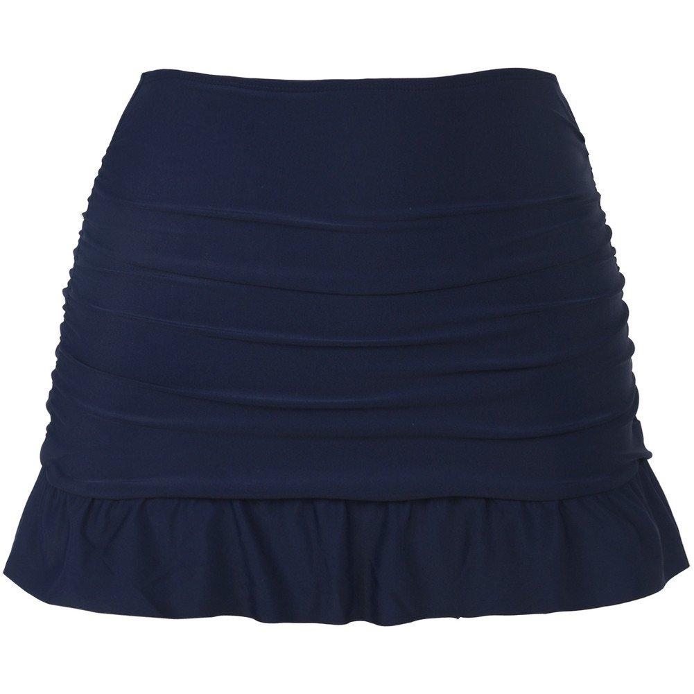 Hilor Women's High Waisted Swim Skirt Shirred Skirted Swim Bottom Ruffle Tankini Bottom Tummy Control YSK17009