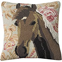 Rod's Wedding Ring Hooked Horse Pillow