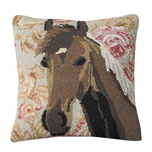 Floral Pillow Ring - Rod's Wedding Ring Hooked Horse Pillow
