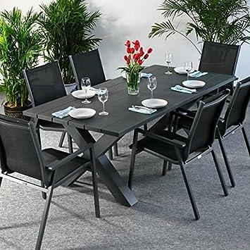 Table Martha et 6 chaises Abigail - GRIS | Table de jardin ...