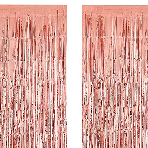 2 Pack Rose Gold Metallic Tinsel Foil Fringe Curtains Photo Booth Props 3.2 ft x 9.8 ft for Birthday Wedding Bridal Shower Baby Shower Bachelorette Holiday Celebration Party Decorations -