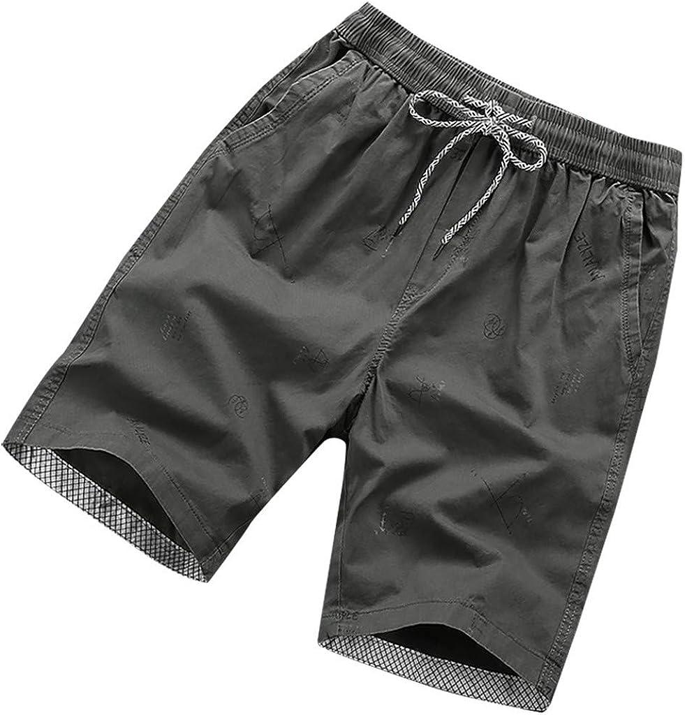 Mens Elastic Waist Lightweight Straight Fit Cargo Shorts