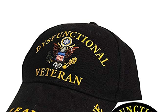 1fed6f1fd37 Amazon.com  Dysfunctional Veteran Direct Embroidered Hat - Black ...