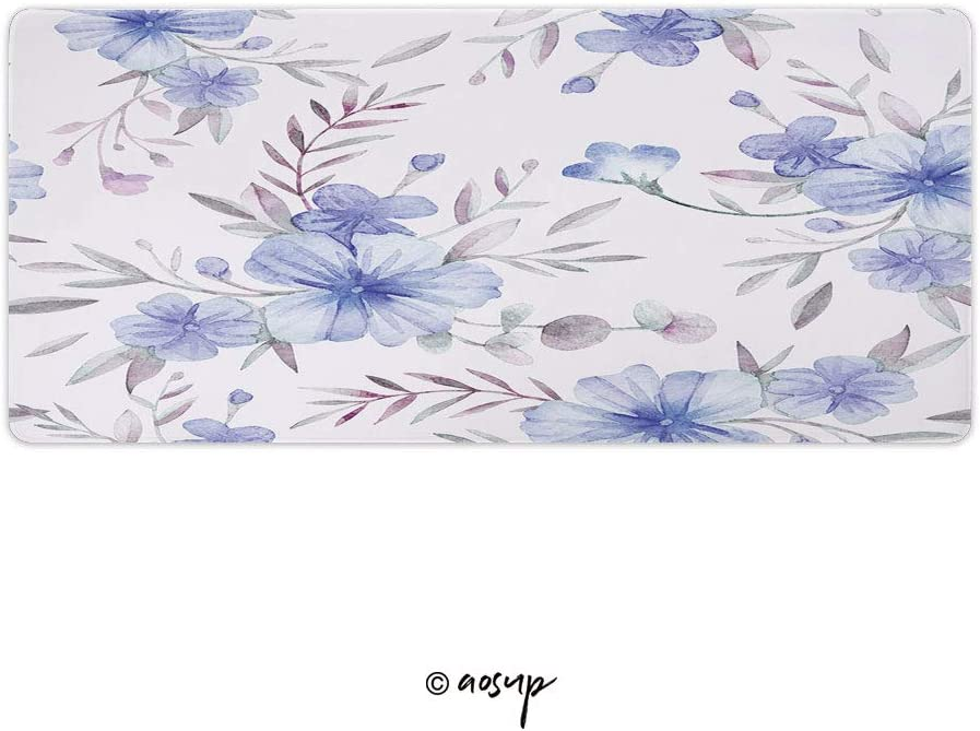 Homenon Large Gaming Mouse Pad Locking Edge Mouse Mat Watercolor Floral Pattern Gaming Mouse Anti-Slip Rubber Mousepad for Laptop 23.6 x 11.8 NO-31797